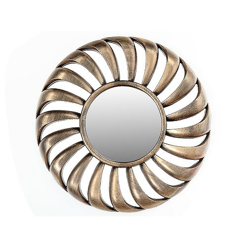 IH Casa Decor Gold Decorative Mirror - Round