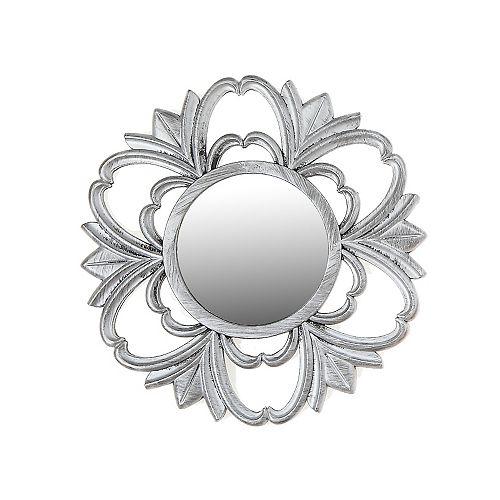 IH Casa Decor Silver Decorative Mirror - Flower