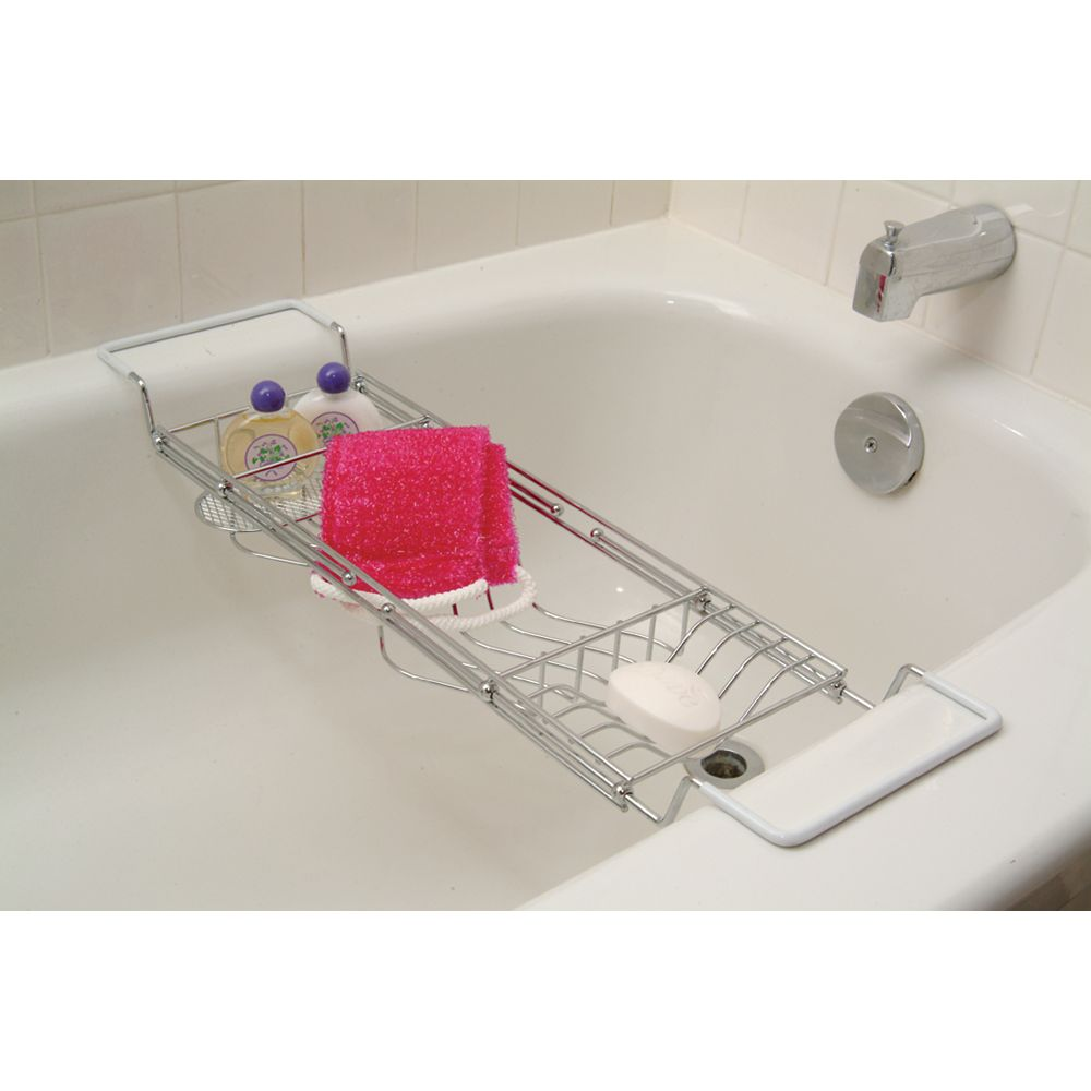 IH Casa Decor Réglable Bath Top Caddy Chrome