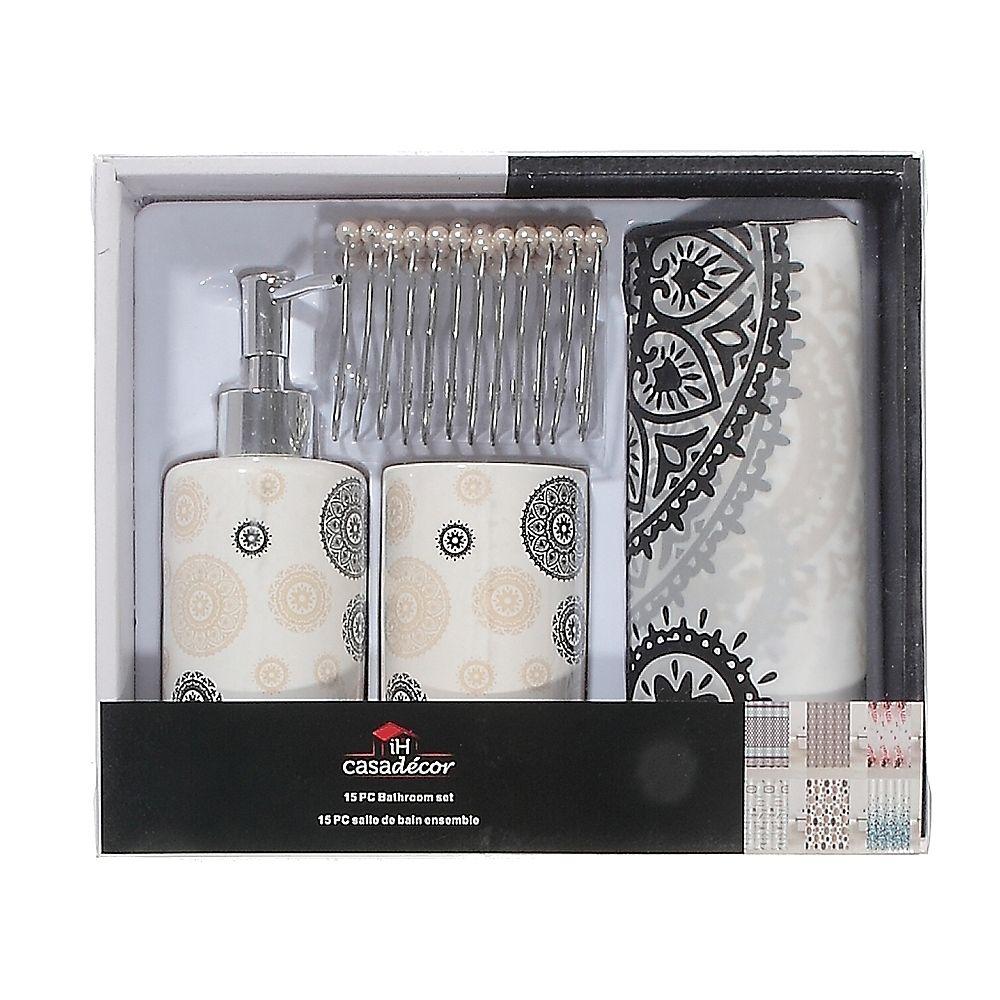 8 Pc Bathroom Set+ Peva S. Curtain + 8 R Hooks -Henna