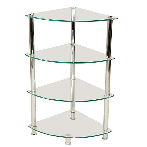 4-Tier  Corner Frosted Glass Stand