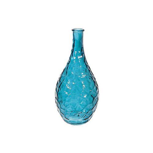 Bottleneck Vase en verre avec une texture (Bleu)