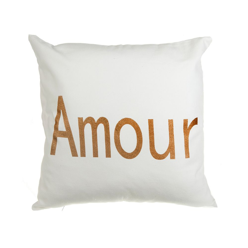 IH Casa Decor Amour - White Canvas Filled Cushion - Set of 2