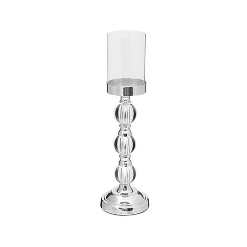 Crystalline Silver Glass Candle Holder