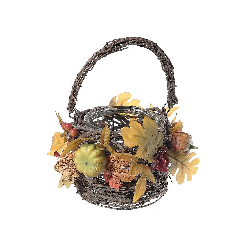 IH Casa Decor Autumn Leaves Covered Candle Holder In Basket With Handle