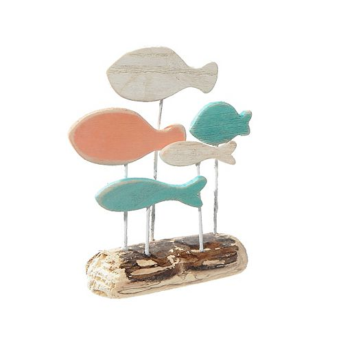 Coastal Wood Fishes On Stand