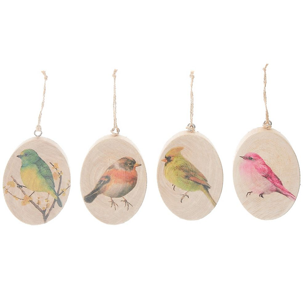 IH Casa Decor Oval Flat Wood Ornament (Bird) (Asstd)