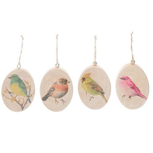 Oval Flat Wood Ornament (Bird) (Asstd)