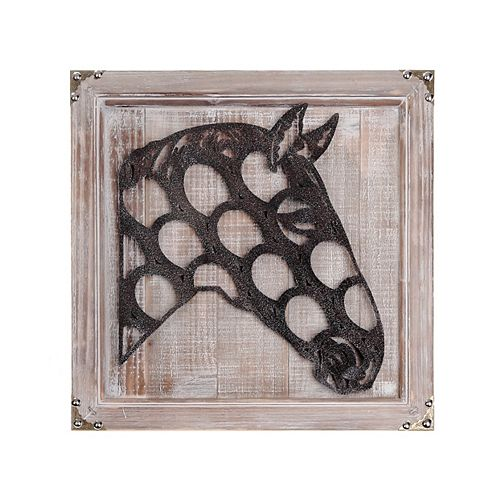 IH Casa Decor Hanging Framed Wood With Metal Horse Head