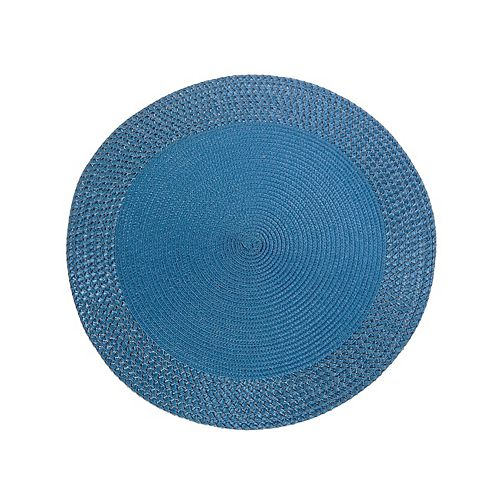 IH Casa Decor Vinyl Round Placemat With Border (Blue)(Set Of 12)