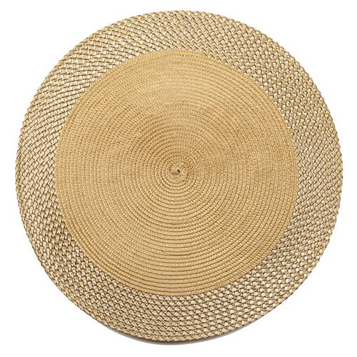 Vinyle Round Napperon Avec Border (Gold) (Ensemble De 12)
