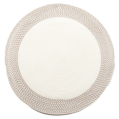 Vinyl Round Placemat With Border (White)(Set Of 12)