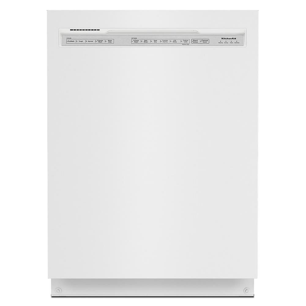 KitchenAid Front Control Dishwasher in White, Stainless Steel Tub - 3rd Level Rack 39 dBA - ENERGY STAR®