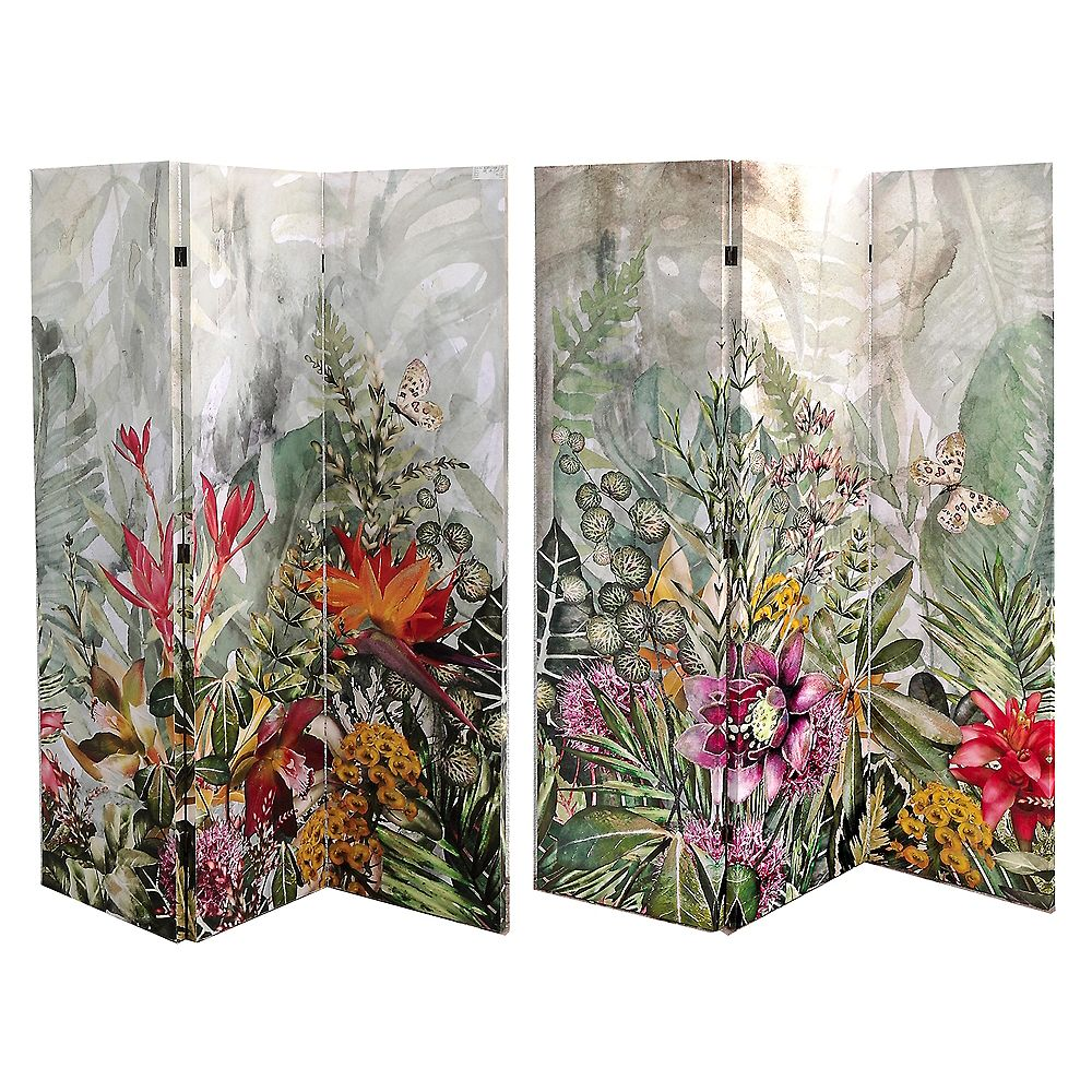 Double Sided 12 Panel Canvas Screen With Glitter - Garden of Eden