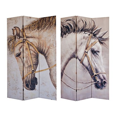 Majestic Horses Double Sided 3 Panel Canvas Screen