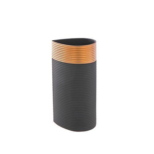 IH Casa Decor Black Teardrop Glass Vase With Gold Rim (Medium)
