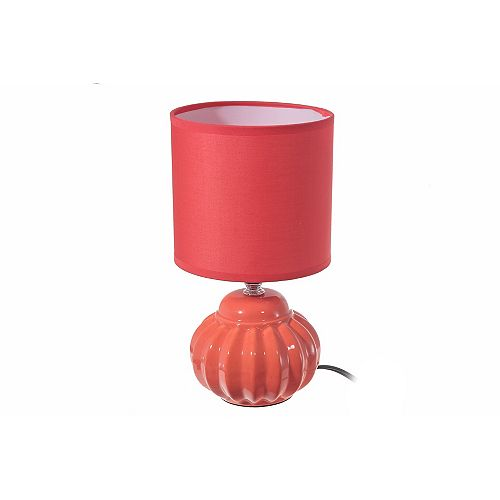 IH Casa Decor Ceramic Table Lamp With Shade (Joy) (Coral)