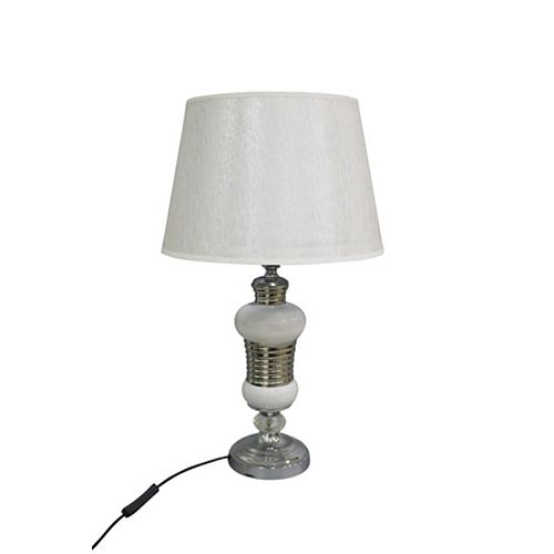 IH Casa Decor Ceramic Table Lamp With Shade (Oblong White)