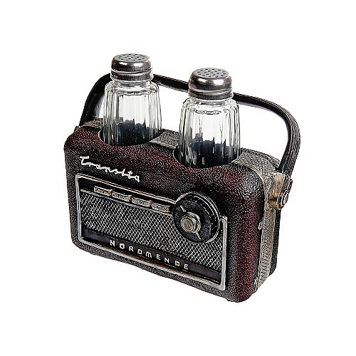 Polyresin Vintage Radio With Salt And Pepper Shaker