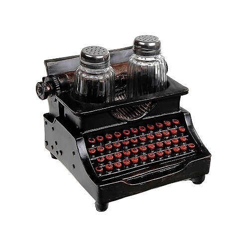 Polyresin Vintage Typewriter With Salt And Pepper Shaker