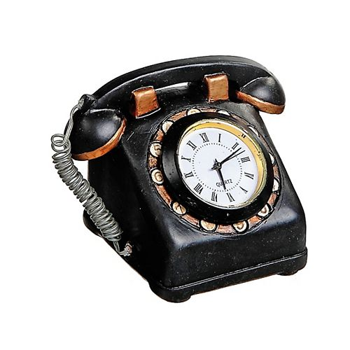 Polyresin Vintage Telephone With Clock