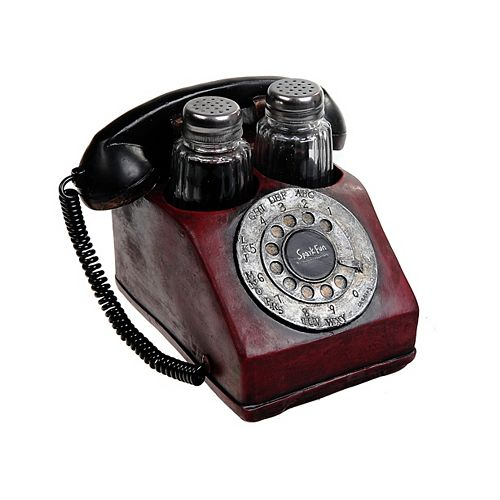 Polyresin Vintage Telephone With Salt And Pepper Shaker