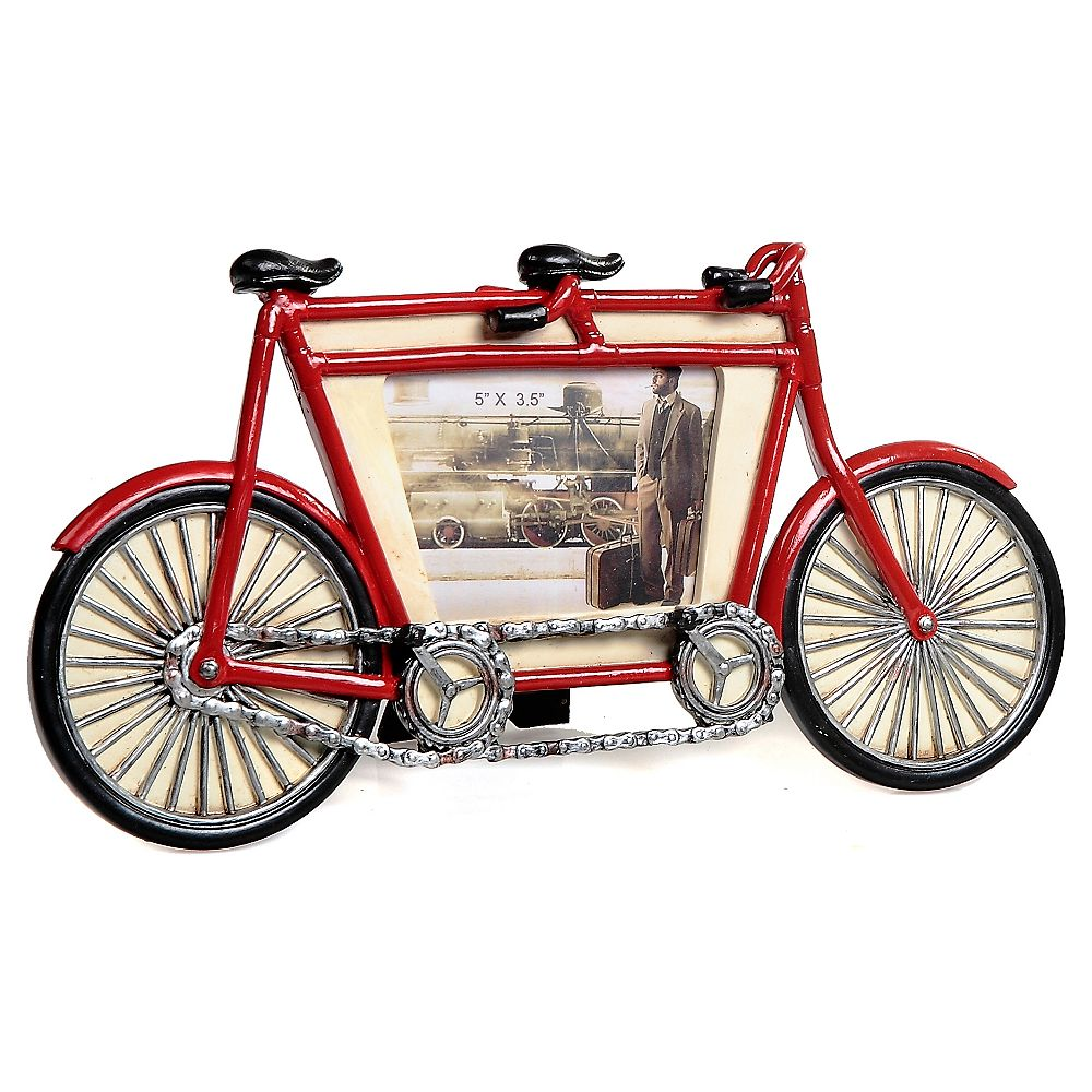 IH Casa Decor Polyresin Vintage Tandem Bicycle Picture Frame (5 X 3.5)