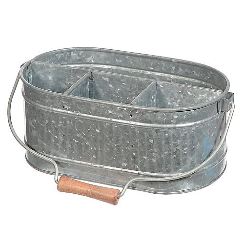 4 Section Galvanized Oval Caddy W/ Wood Handle