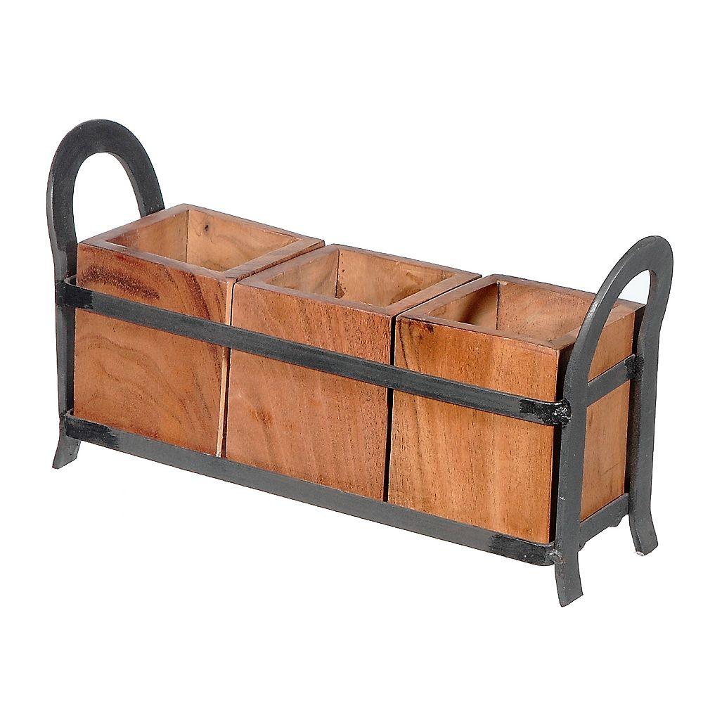 IH Casa Decor 3 Place en bois Caddy sur socle en métal