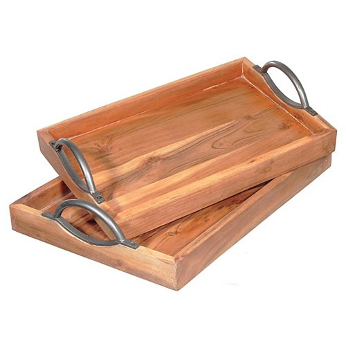 Rect. Wooden Tray With Curved Handles (Set Of 2)