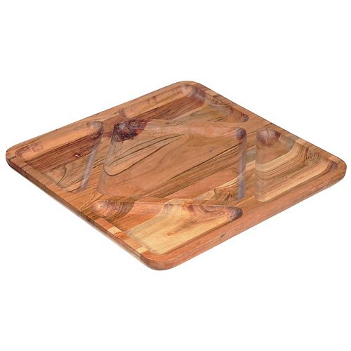 5 Section Wooden Square Serving Tray