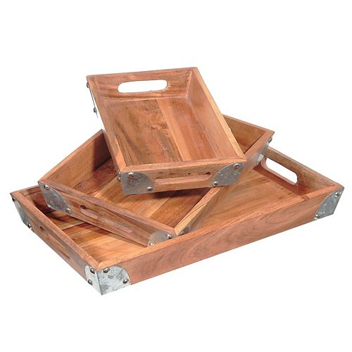 Rect. Wooden Tray With Metal Corners (Set Of 3)