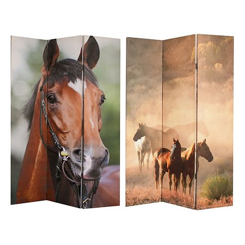 Horses Double Sided Canvas Screen