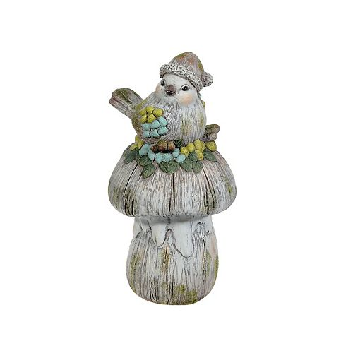 Outdoor Garden Figurine (Bird On Giant Mushroom)