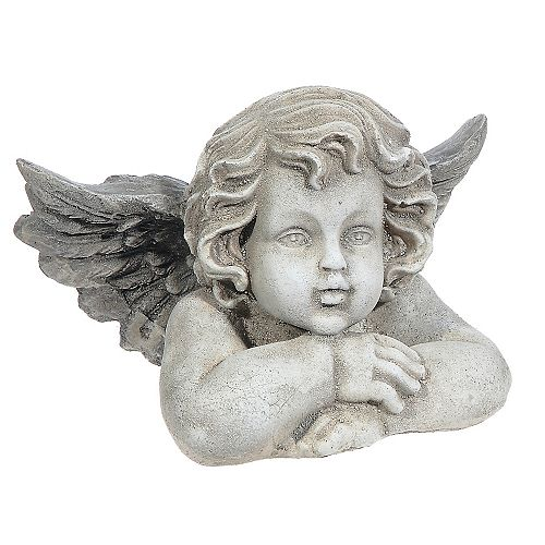 IH Casa Decor Polyresin Garden Figurine (Cherub Chin On Arm)