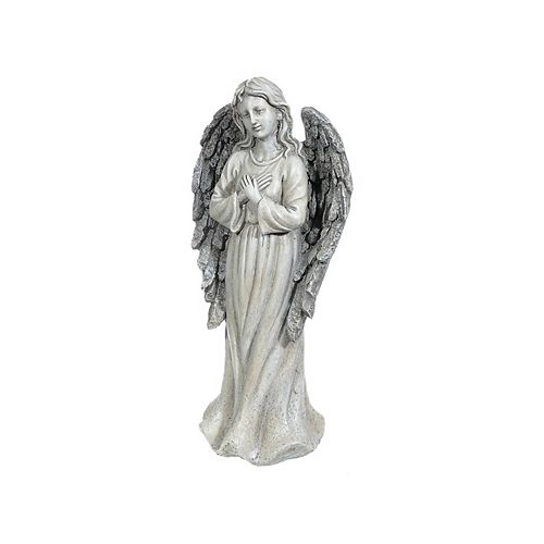 Polyresin Garden Figurine (Angel With Hand Over Chest)