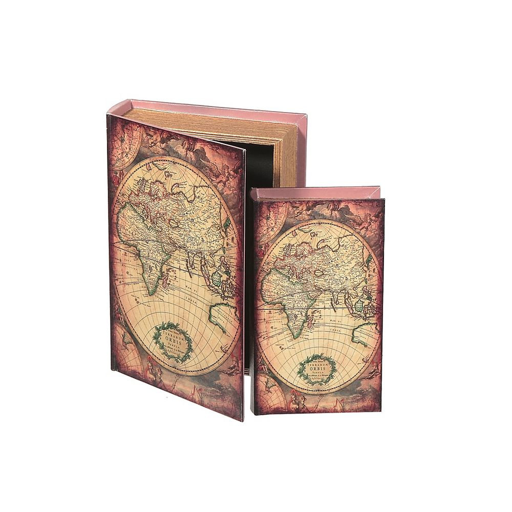 IH Casa Decor Fabric Storage Book -Expedition Map - Set Of 2