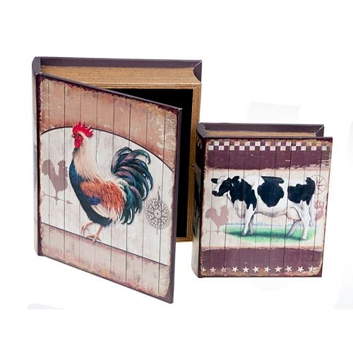 IH Casa Decor Rooster/Cow - Book Shaped Boxes - Set Of 2