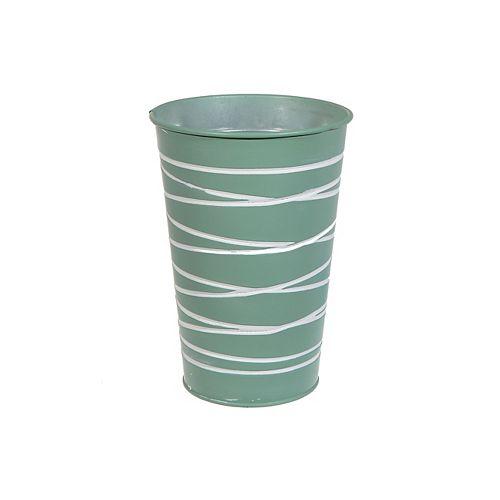 Metal Round Tall Planter (Mint Green)