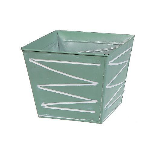 Metal Square Planter (Mint Green)