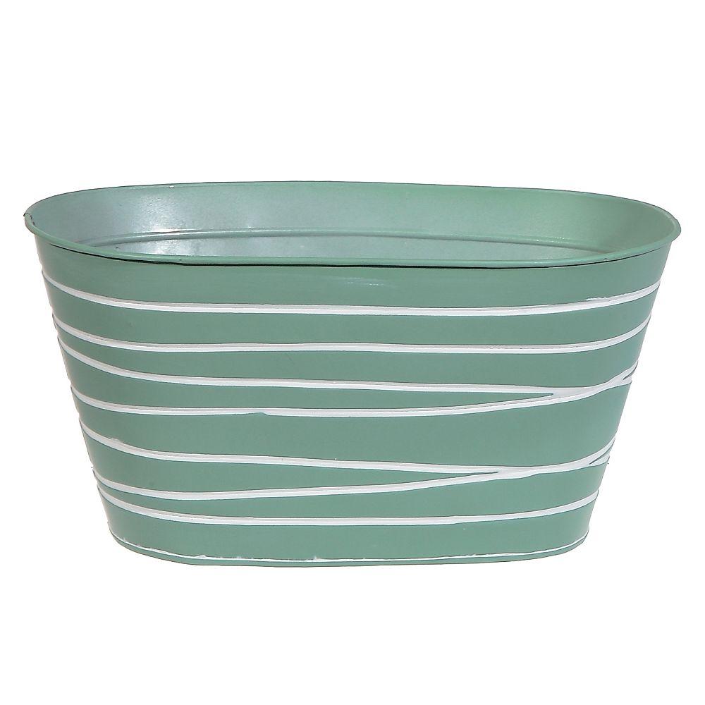 IH Casa Decor Metal Oval Planter (Mint Green)