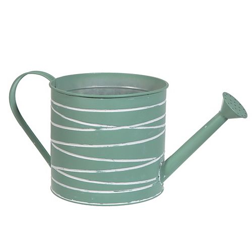 Metal Round Watering Can Planter (Mint Green)