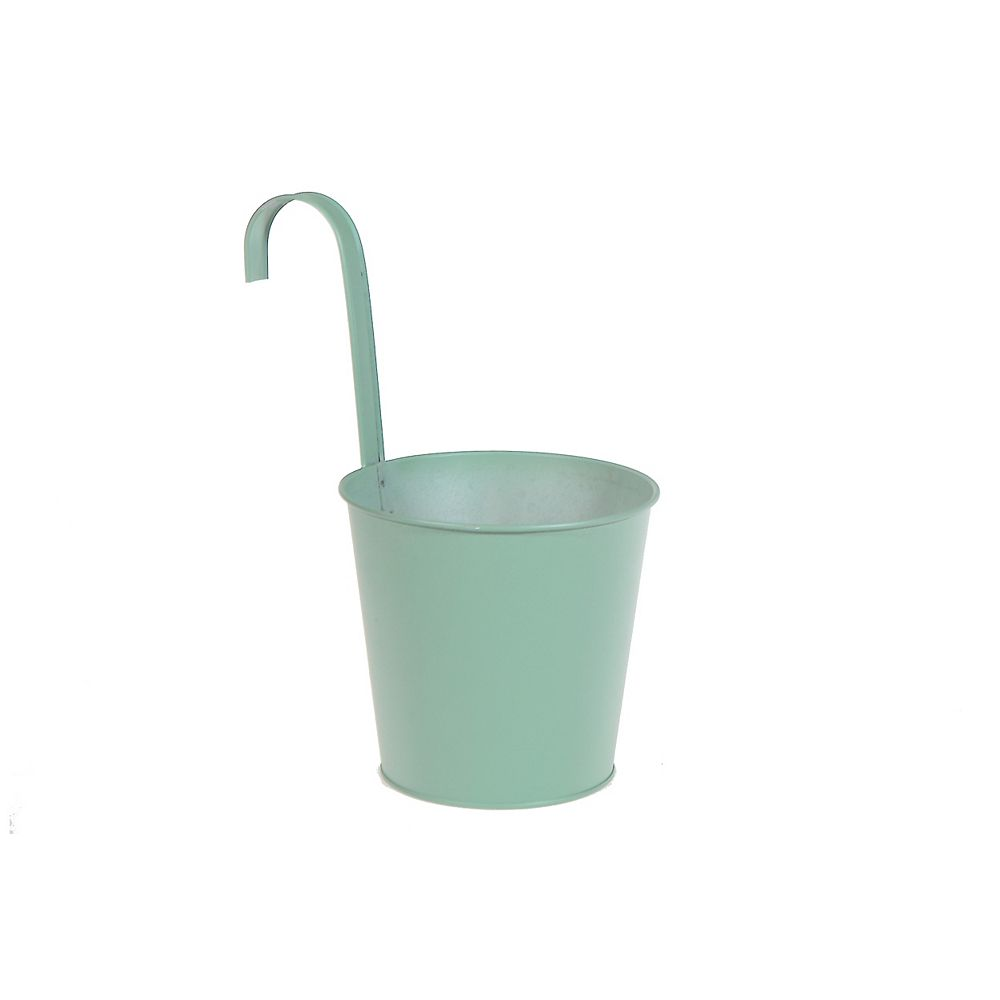 IH Casa Decor Metal Round Planter With Hook (Mint Green) (Large)
