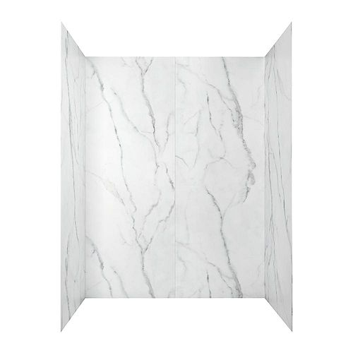 Passage 60 in. x 72 in. 4-Piece Glue-Up Shower Alcove Wall in Serene Marble