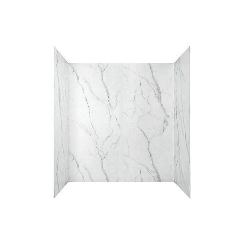 Paroi de bath en alcôve Passage quatre pièces collées de 60 x 32 po en Marbre Serein