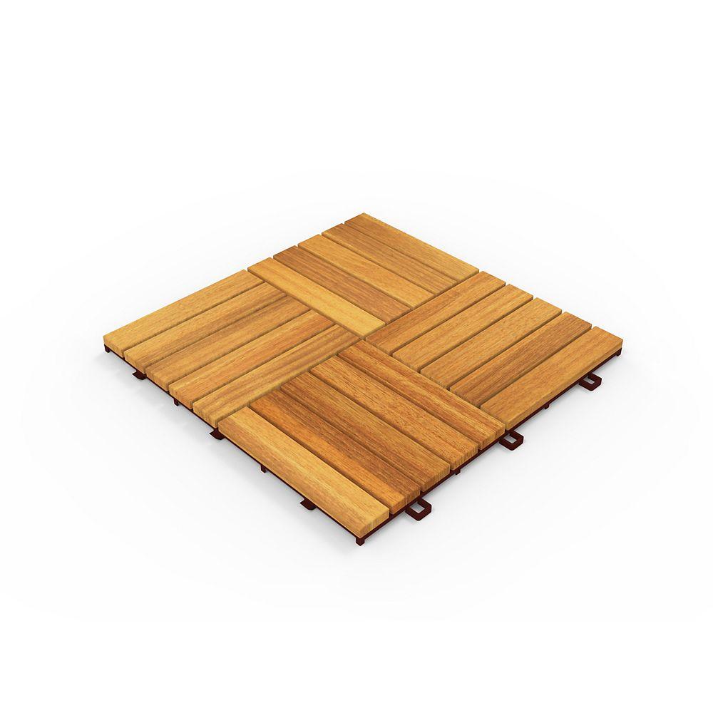 INTERBUILD Tuiles de terrasse Acacia CAMP 20, 10 boîtes, 100 tuiles, 100 pieds carrés, teck doré