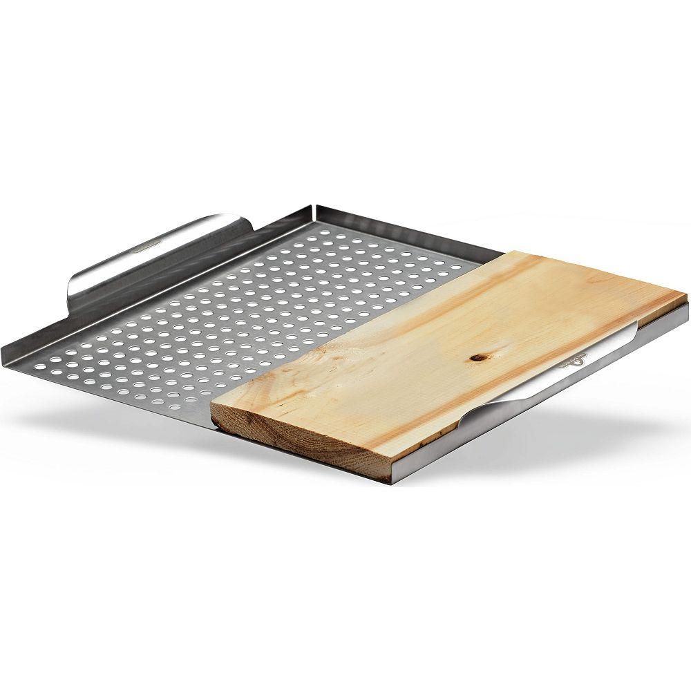Napoleon Plateau de cuisson multifonctionnel en acier inoxydable avec planche de cèdre