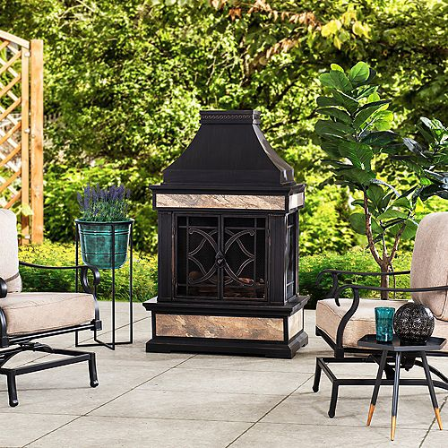 Curtis 56.69 in. Wood Burning Outdoor Fireplace with Black Highlights