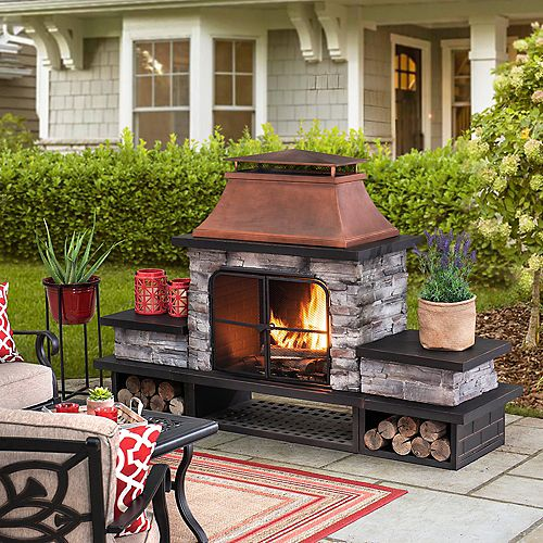 Bel Aire Wood Burning Fireplace - Copper Chimney