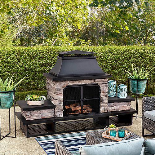Bel Aire Wood Burning Fireplace - Black Chimney